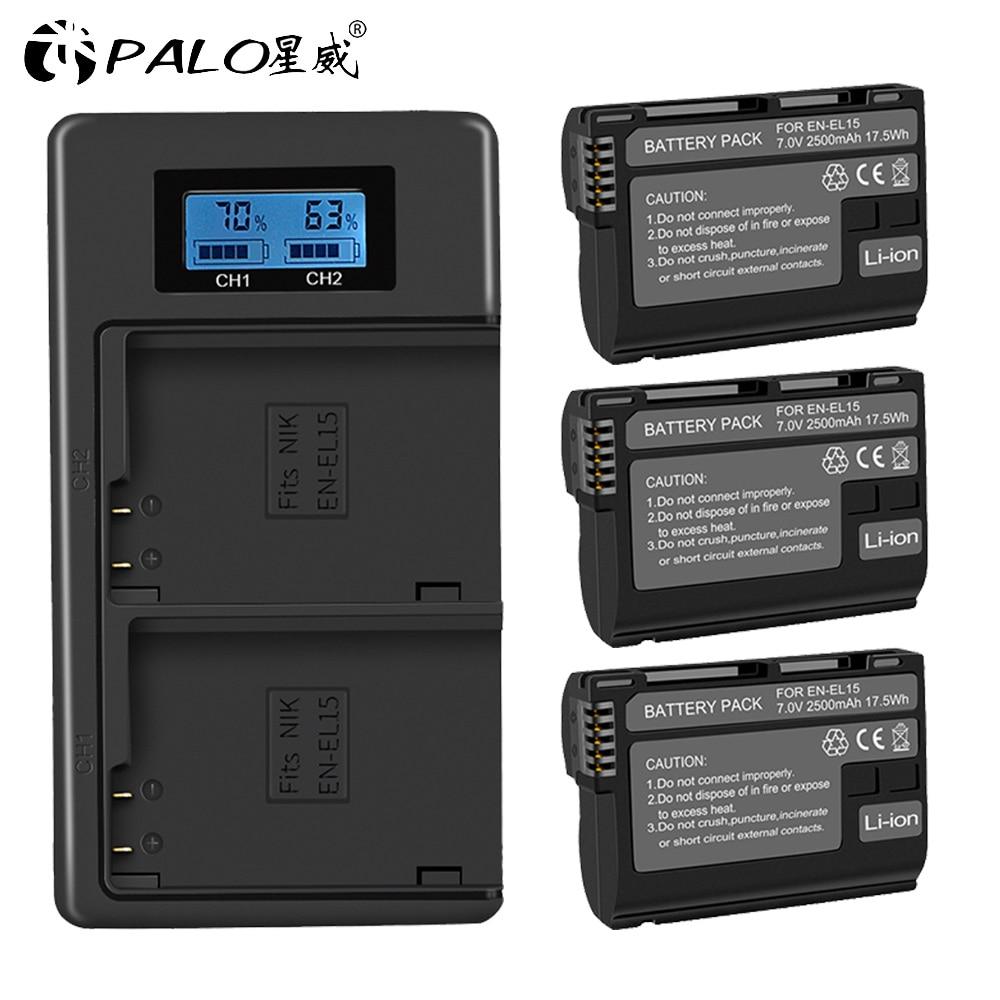 3 шт., аккумуляторы EN-EL15 EN EL15 ENEL15 EL15A + двойное зарядное устройство с ЖК-дисплеем для Nikon D600 D610 D600E D800 D800E D810 D7000 D7100 d750 V1