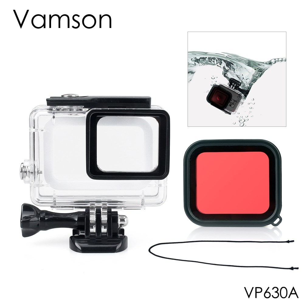 Vamson для Go pro 45m водонепроницаемый для камеры Gopro Hero 7 6 5 с защитным красным фильтром