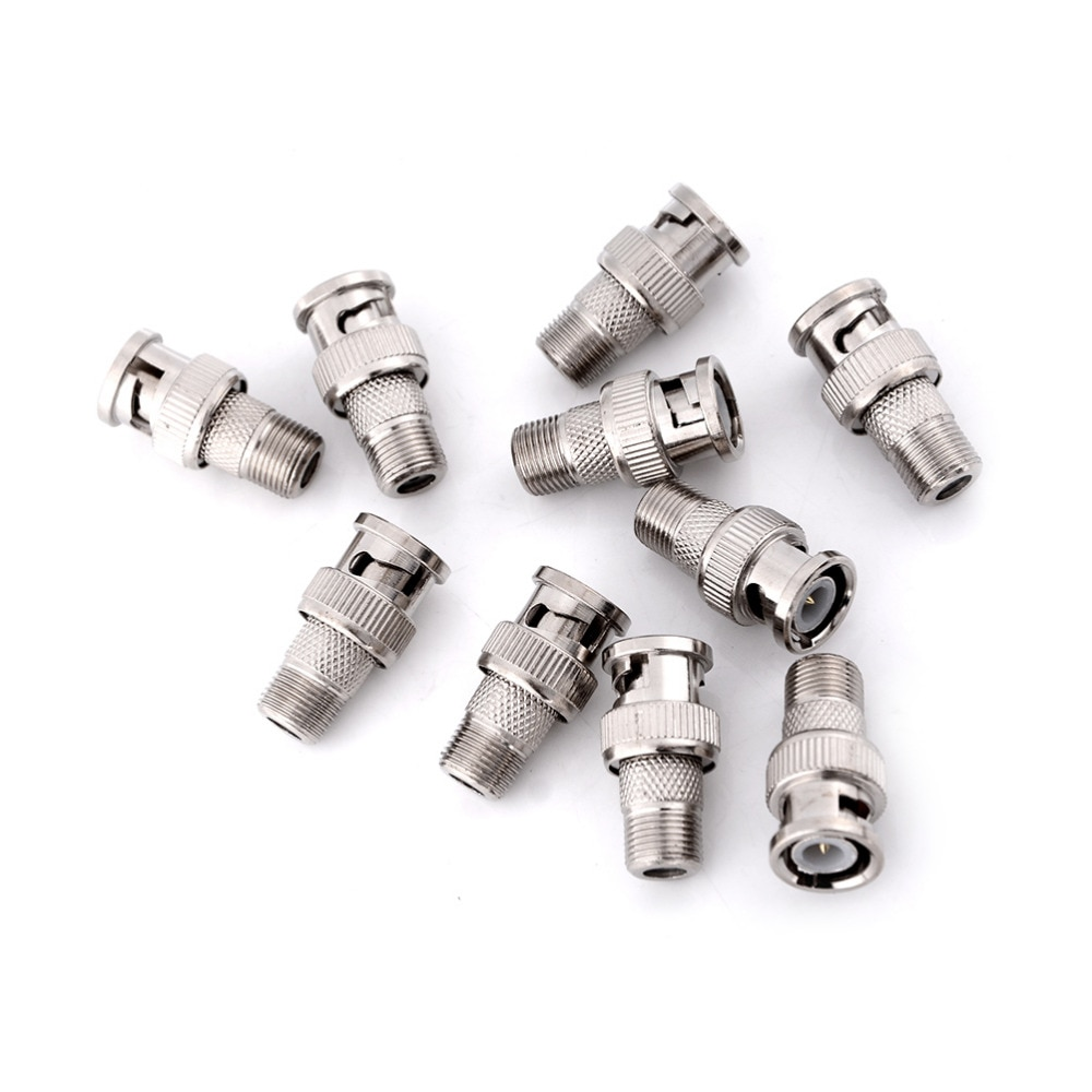 Zlinkj 10 pces bnc macho plug para f fêmea conector acoplador jack adaptador coaxial
