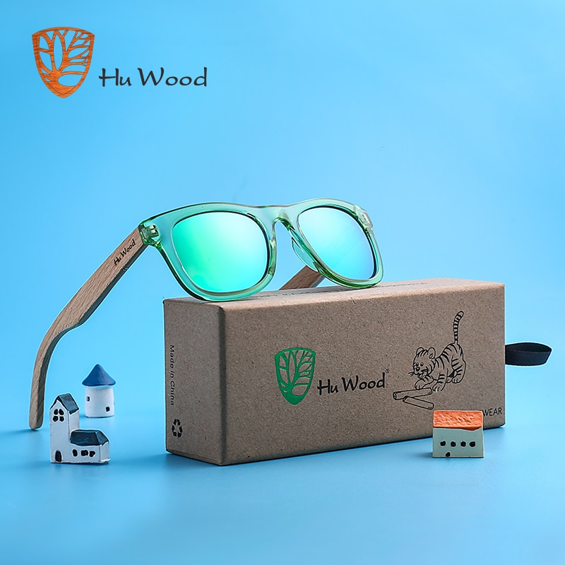 HU WOOD Brand Design kids Children Sunglasses Multi-color Frame Wooden Sunglasses for Child Boys Gir