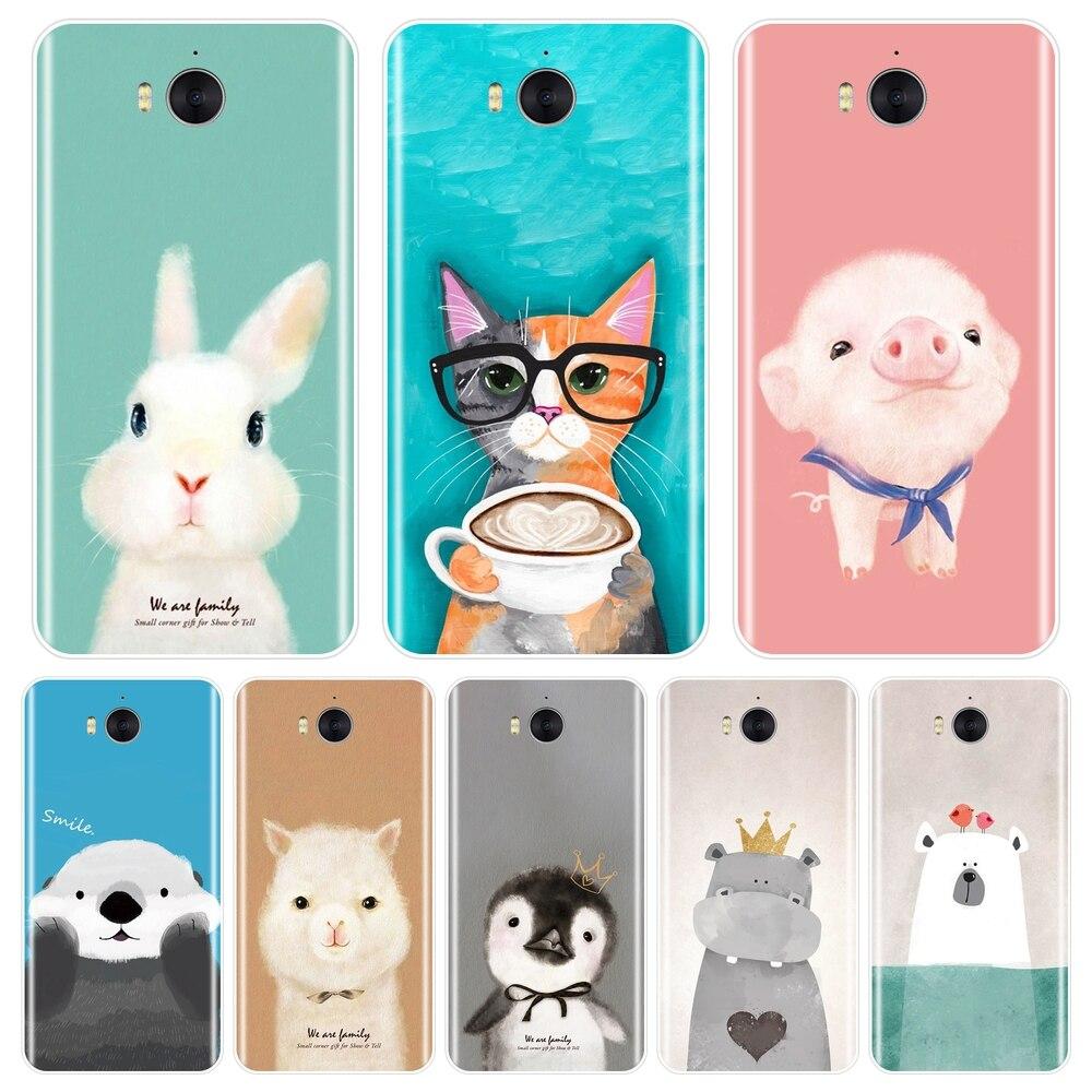 For Huawei Y3 Y5 Y6 II Y7 2017 Pro Case Silicone Soft Pink Pig Cat Back Cover For Huawei Y5 Y6 Y7 Prime 2018 Y9 2019 Phone Case