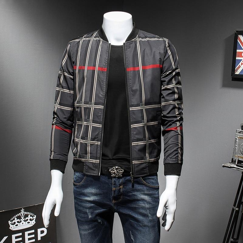 2018 Padrão de Verificação Designer De Homens Jaqueta Bomber Jacket Chaquetas Hombre Jaqueta Masculino Plus Size 5xl Jaqueta de Verificação Dos Homens