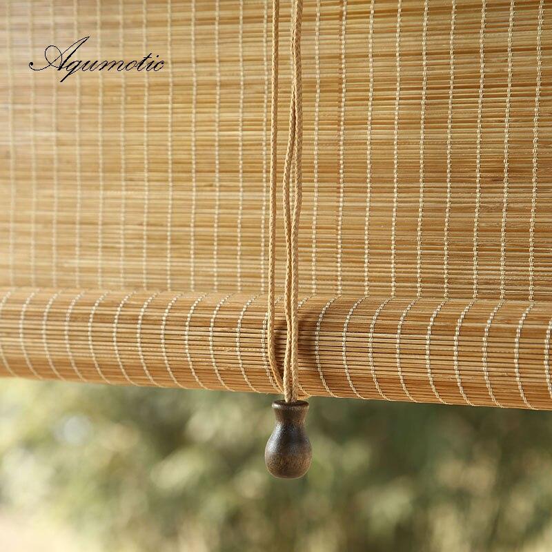 Aqumotic manual de bambu cortina sala partição tela janela da porta chuveiro tamanho personalizado sushi lugar decoração pendurado madeira natural