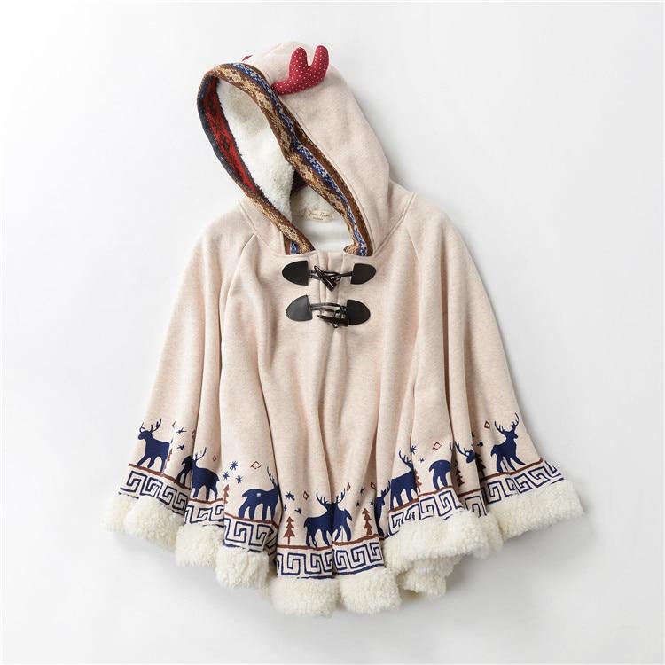 Japonesa Mori chica Hippie Vintage Deer Boho Manteaux Femme Chaqueta con capucha suelta capa gruesa mujer Otoño Invierno Chaqueta