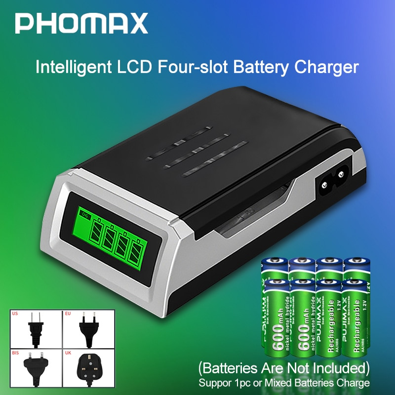 PHOMAX LCD-002 LCD Household Display With 4 Slots Smart Intelligent Battery Charger For AA/AAA NiCd