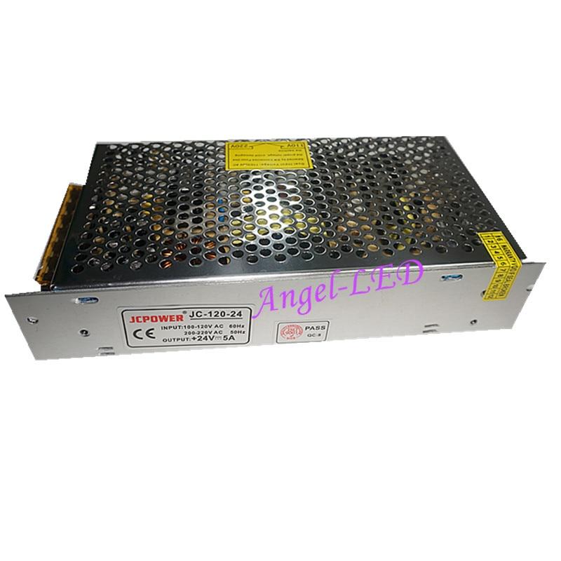 Fuente de alimentación conmutada regulada Universal, Salida DC transformador de voltaje 24V 5A 120W para lámpara de tira LED CCTV PSU
