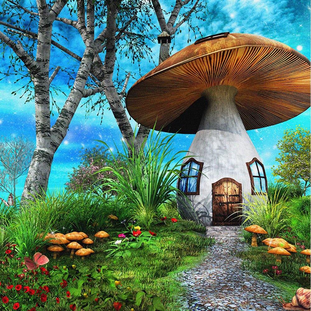 SETA grande casa foto telón de fondo de cuento de hadas impreso árboles hierba flores azul cielo estrellado niños Fotografía fondos