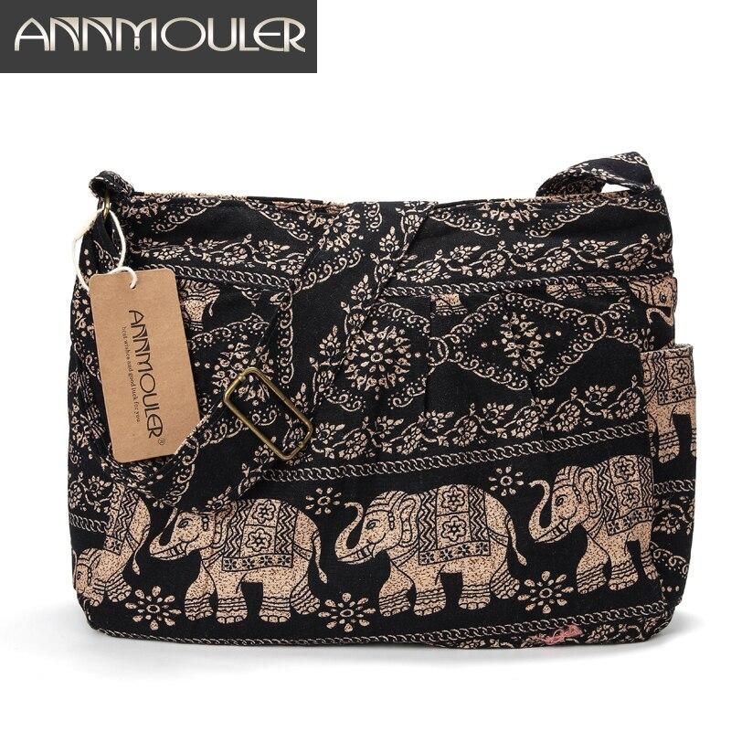 Bolso grande Annmouler para mujer, bolso cruzado de tela de algodón, bolso Hobo con estampado de elefante Tribal, bolso bandolera ajustable suave