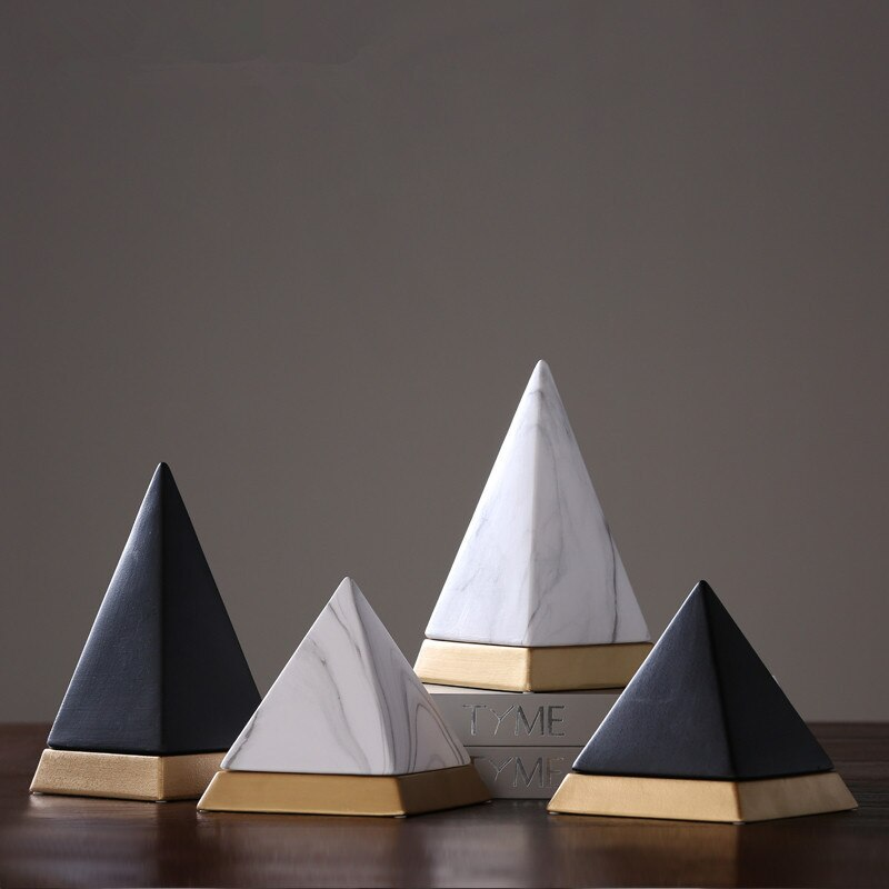 Lujosa figurita piramidal abstracta Giza Pyramids escultura artística artesanías de cerámica nórdica decoración del hogar Accesorios R1700