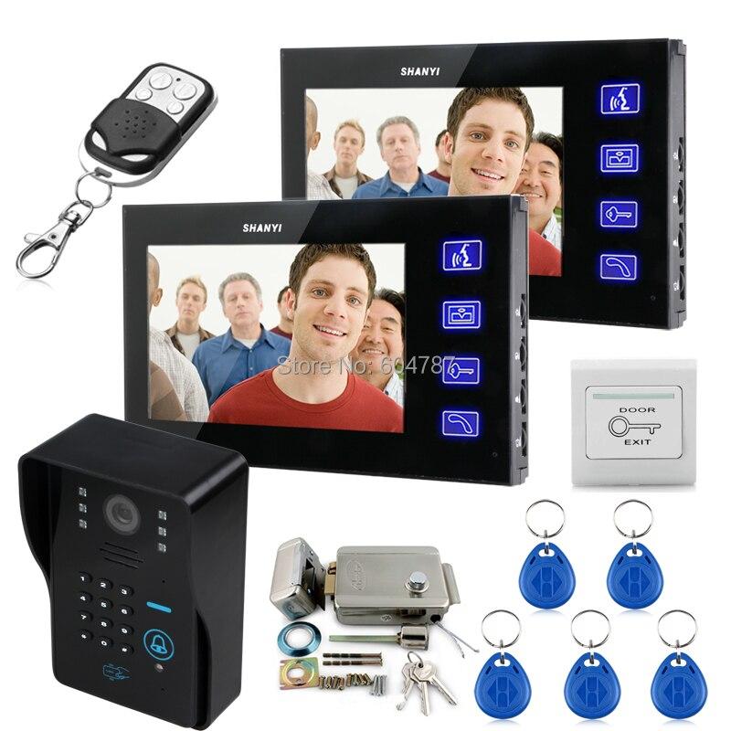 """Tecla táctil 7 """"Lcd Video puerta teléfono sistema de intercomunicación con cámara IR y teclado de código cerradura de puerta electrónica 1V2"""
