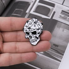 RPG D20 crâne dés émail épinglette épinglette numérique punk mdn Badges broches pour accessoires de sac à dos amoureux du jeu