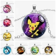Best Selling Pikachu Baby Pokeball Leafeon Umbreon Ronde Glazen Koepel Hanger Mega Kind Hanger Ketting Vaporeon Pokemon