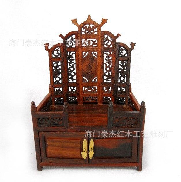 Redwood imitación muebles Ming miniatura rojo Aparador de madera exquisito muebles de miniatura