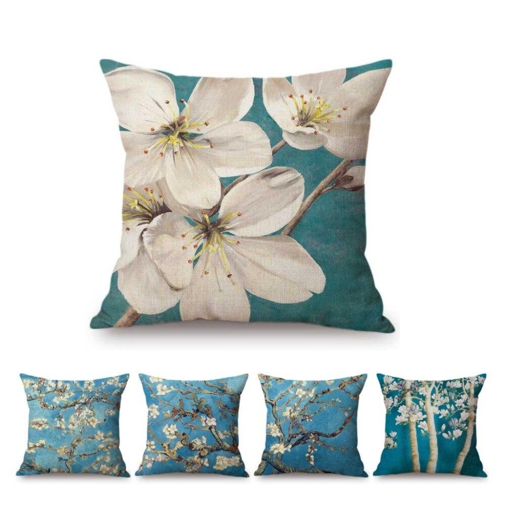 Pintura al óleo de árbol de flor azul arte decorativo para el hogar funda de almohada para sofá funda de almohada de algodón de lino para coche funda de cojín para silla de flores
