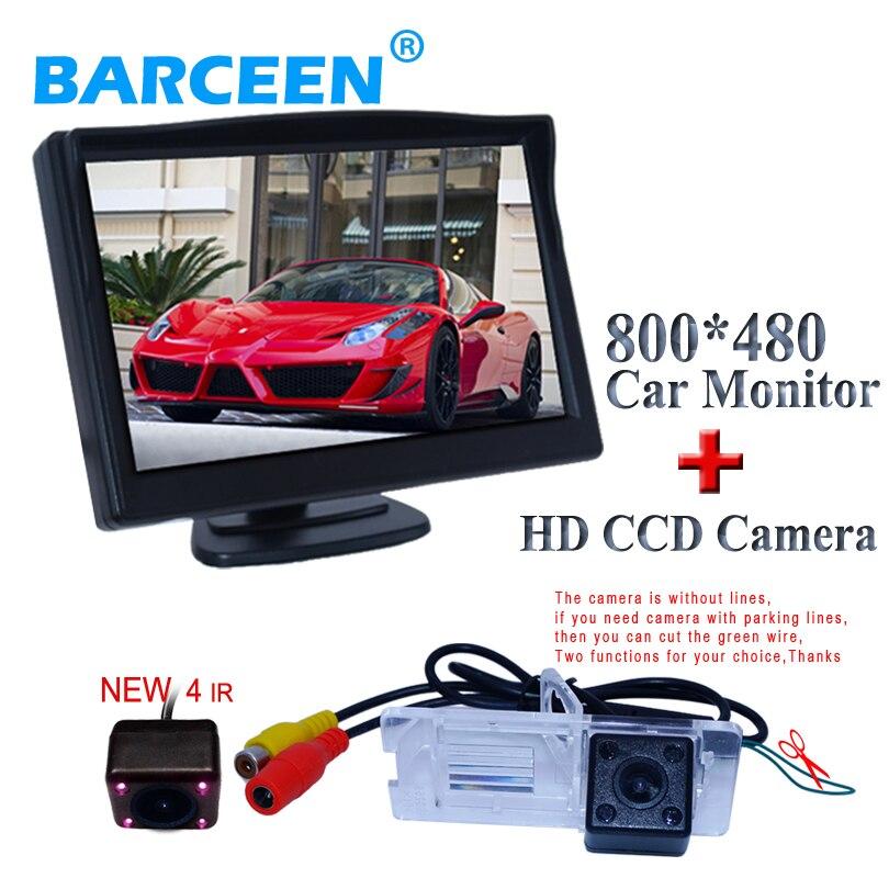 "Original car parking camera plastic shell material + car  rear  monitor 5"" lcd display  for Renault Fluence for renault megane"
