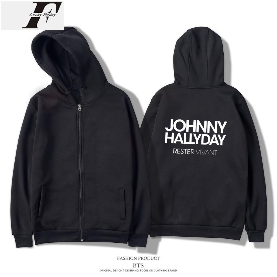 LUCKYFRIDAYF Johnny Hallyday Fãs Hoodies Dos Homens Zipper Harajuku Nova Moda Marca Streetwear Treino Solto Hoodies Homens Plus Size