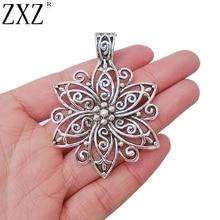 ZXZ 2 pièces grand filigrane fleur breloques pendentifs pour la fabrication de bijoux résultats 67x48mm