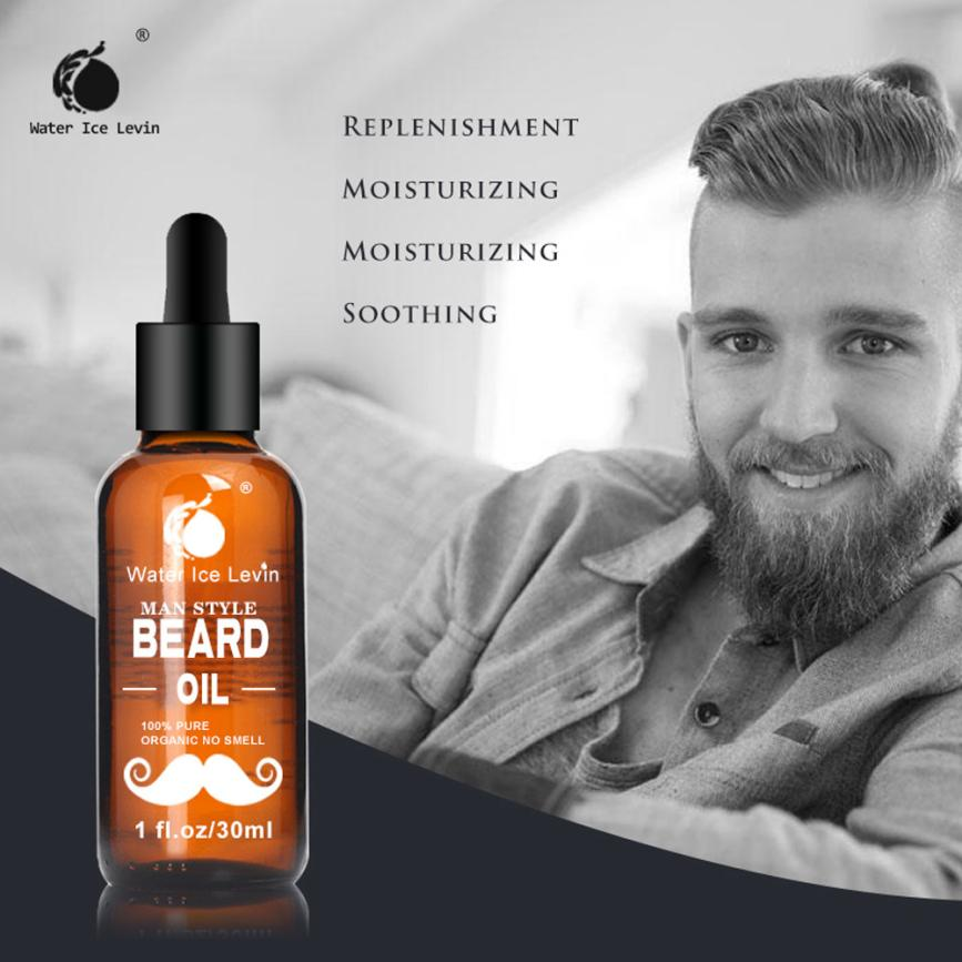 Agua hielo Levin 30ML hombres barba aceite para estilizar la cera de abejas hidratante alisador barba para caballero acondicionador de cuidado 2U1222