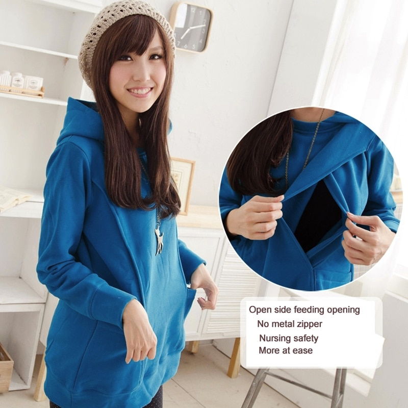 Emotion Mom Winter Maternity clothes maternity Breastfeeding Tops nursing clothes for pregnant women Maternity Hoodie sweater enlarge