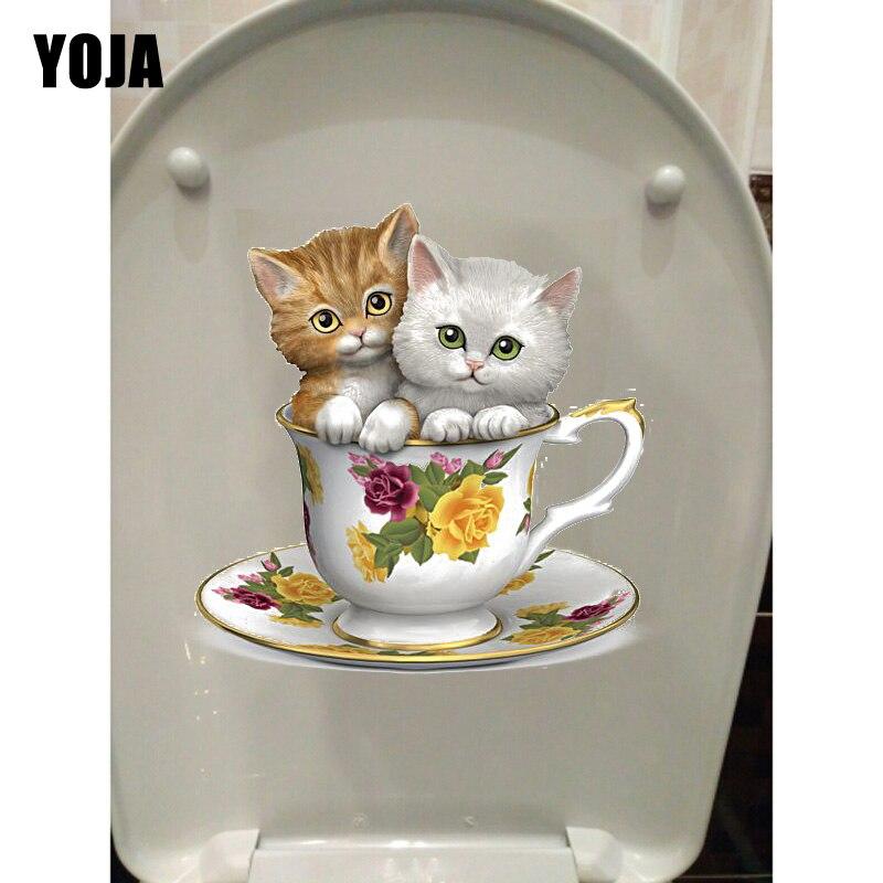 YOJA 19,8*20,6 CM dos lindos gatos taza de té habitación de niños pegatina de la pared de baño pegatina de inodoro T1-0177