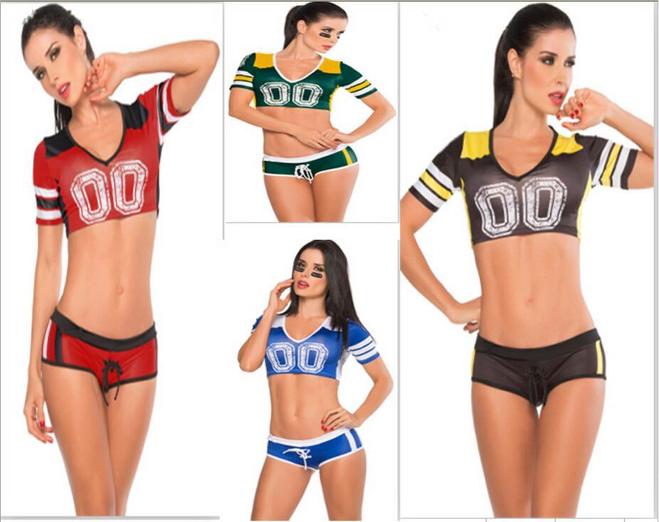 4 color de fútbol de fantasía traje de fútbol de bebé chica sexy Falda corta pantalones cortos de niño con cuello en V de las animadoras equipo conjuntos deportes