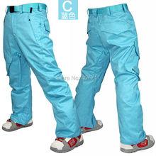 Pantalon de ski homme bleu skateboarding pantalon de ski homme gris rembourré pantalon de neige pantalon de ski imperméable 10K chaud jupon de ski