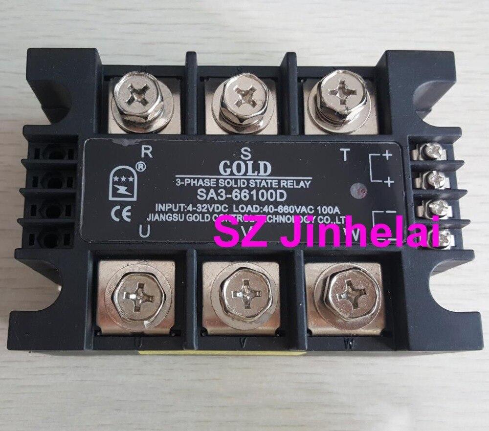 أصيلة الأصلي SA366100D (SA3-66100D) الذهب SSR 3-المرحلة DC التحكم AC الحالة الصلبة التتابع 100A