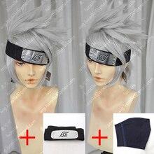 Аниме Наруто Хатаке Какаши Короткие слоистые Серебристые серые термостойкие волосы, костюм для косплея, парика + повязка на голову + маска