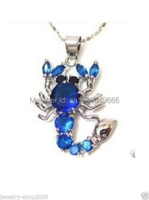 Envío Gratis> Joyería azul cristal escorpión COLLAR COLGANTE