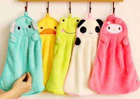 6 шт./лот, оптовая продажа, флисовое сухое полотенце для рук, полотенце с рисунком для детей, милое детское полотенце с изображением пандона, кота, кролика, слона, желтой утки
