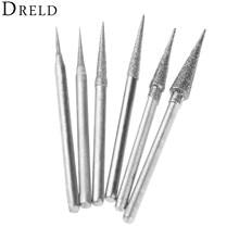 DRELD 6Pcs 1-4mm Diamant Schleifen Kopf Schleifen Nadel Bits Grate Metall Stein Jade Gravur Carving Werkzeuge 2,35mm Schaft D Nadel