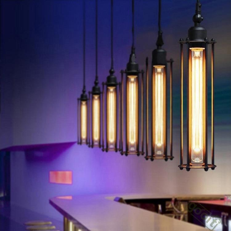 Luces colgantes de barra de Industrial Retro de campo americano lámpara colgante negra de hierro para interiores E27 110V-220V