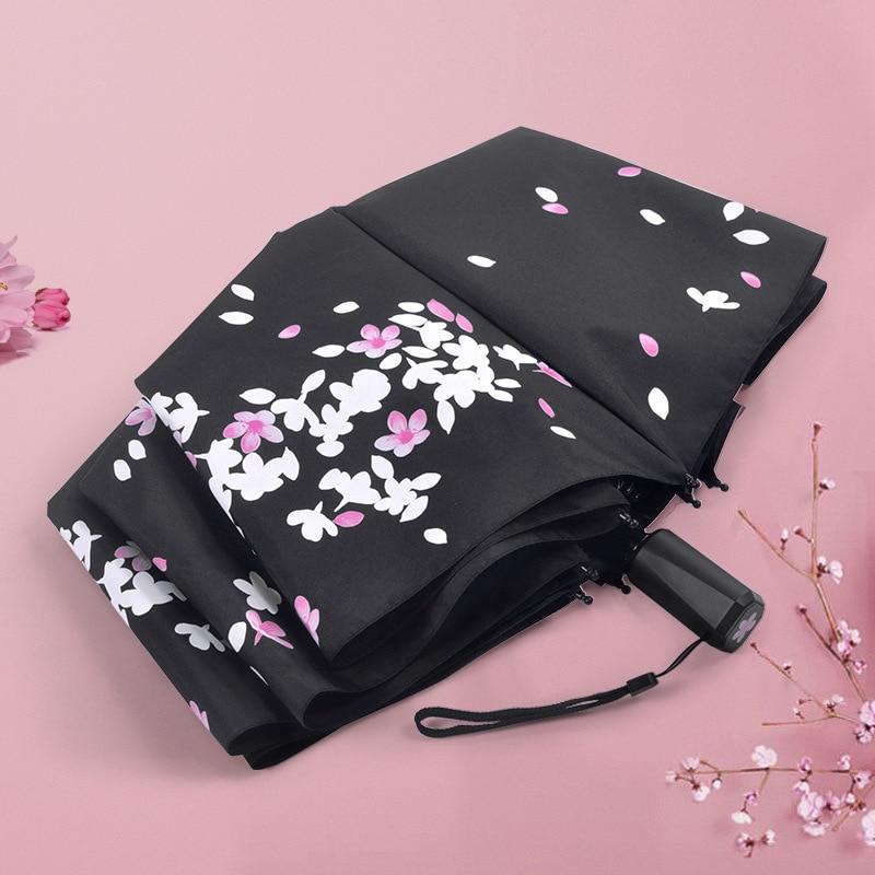 Paraguas automático que cambia de Color paraguas plegable para señoras regalos de protección solar niñas sombrilla triple