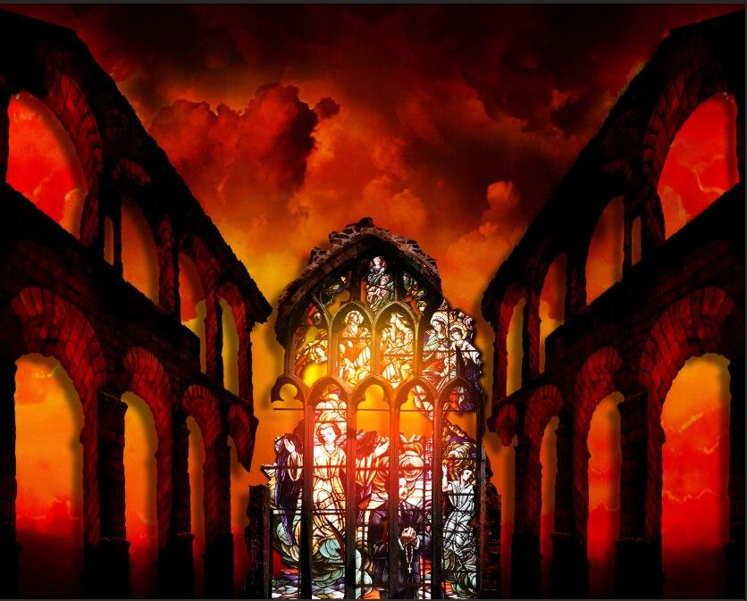 10x10FT Firebrick Clouds Sky Broken Wall Arch Door Cathedral Church Custom Photo Backdrops Studio Background Vinyl 300cm x 300cm