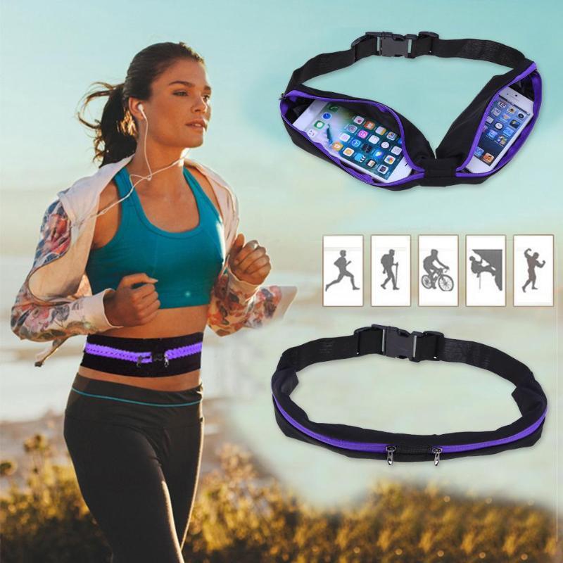 Impermeable elástico Running Jogging riñoneras bolsillo ajustable al aire libre teléfono dinero antirrobo paquete cinturón ciclismo Zip bolsa
