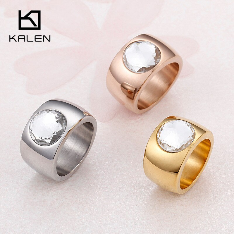 Kalen Big Rhinestone Rings For Women Stainless Steel Dubai Gold Finger Rings Femme Wedding Engagement Rings Jewelry From China