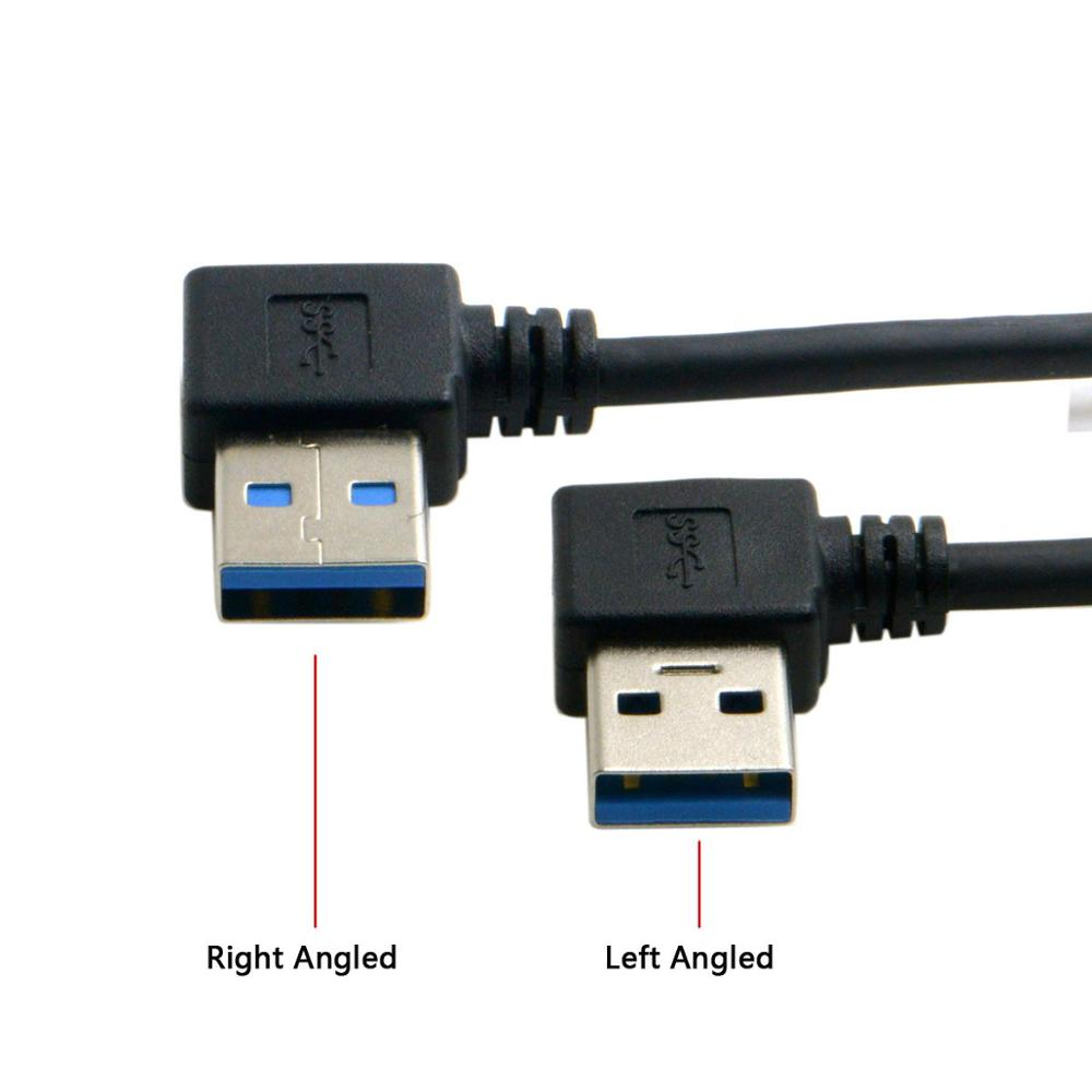 50cm 20cm USB 3.0 Type A Male 90 Degree Left Angled to Right Angled Extension Cable Straight Connection