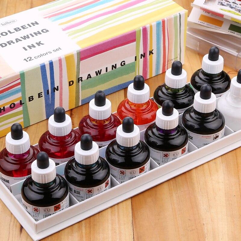 Neue Produkt Holbein wasserdichte comics aquarell tinte pigment 12 farbe 30 ml pigmenttinte natur