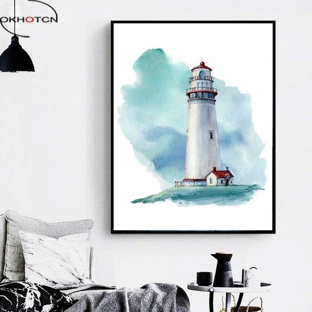 OKHOTCN dibujos animados acuarela faro póster en lienzo de estilo nórdico pintura enmarcada moderna sala de estar hogar Decoración de pared obras de arte imágenes