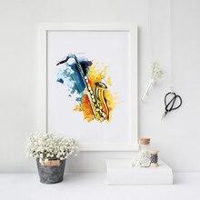 Affiche murale de Saxophone Instruments de musique   Tableau de peinture Jazz, toile daquarelle, décoration de Saxophone