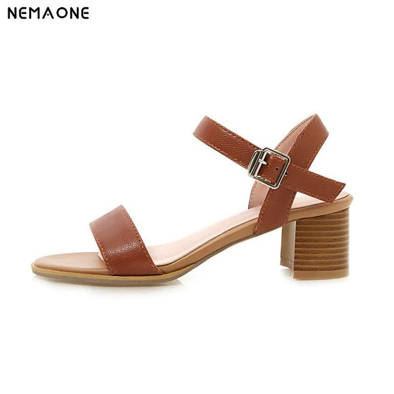 NEMAONE las mujeres sandalia con tacones altos de verano zapatos de mujer marrón negro rojo beige de la pu de cuero de las señoras, zapatos de boda, zapatos tamaño 34-43