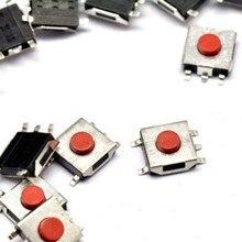 100 unids/lote 6*6*3,1 SMD interruptor de botón táctil momentáneo 4 pines impermeable rojo cobrizo cabeza 6x6x3,1mm interruptor de Monitor LCD