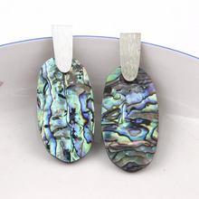 ZWPON Fashion Oval Abalone Shell Drop Earrings Geometric Trendy Brand KS Abalone Drop Earrings for Woman Jewelry
