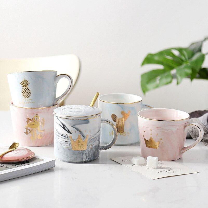 Chic Marble Ceramic Mugs Porcelain Coffee Pink Mug Tea Milk Cup Gold Crown Diamond Flamingo Pineapple Cups Creative Couple Gift