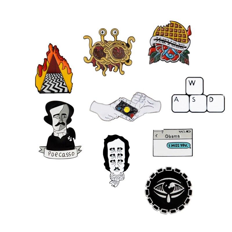 Broche y Pin Waffles Flying Spaghetti Monster Edgar Poe teclado de disparo gesto mensaje de texto esmaltado Pins insignias
