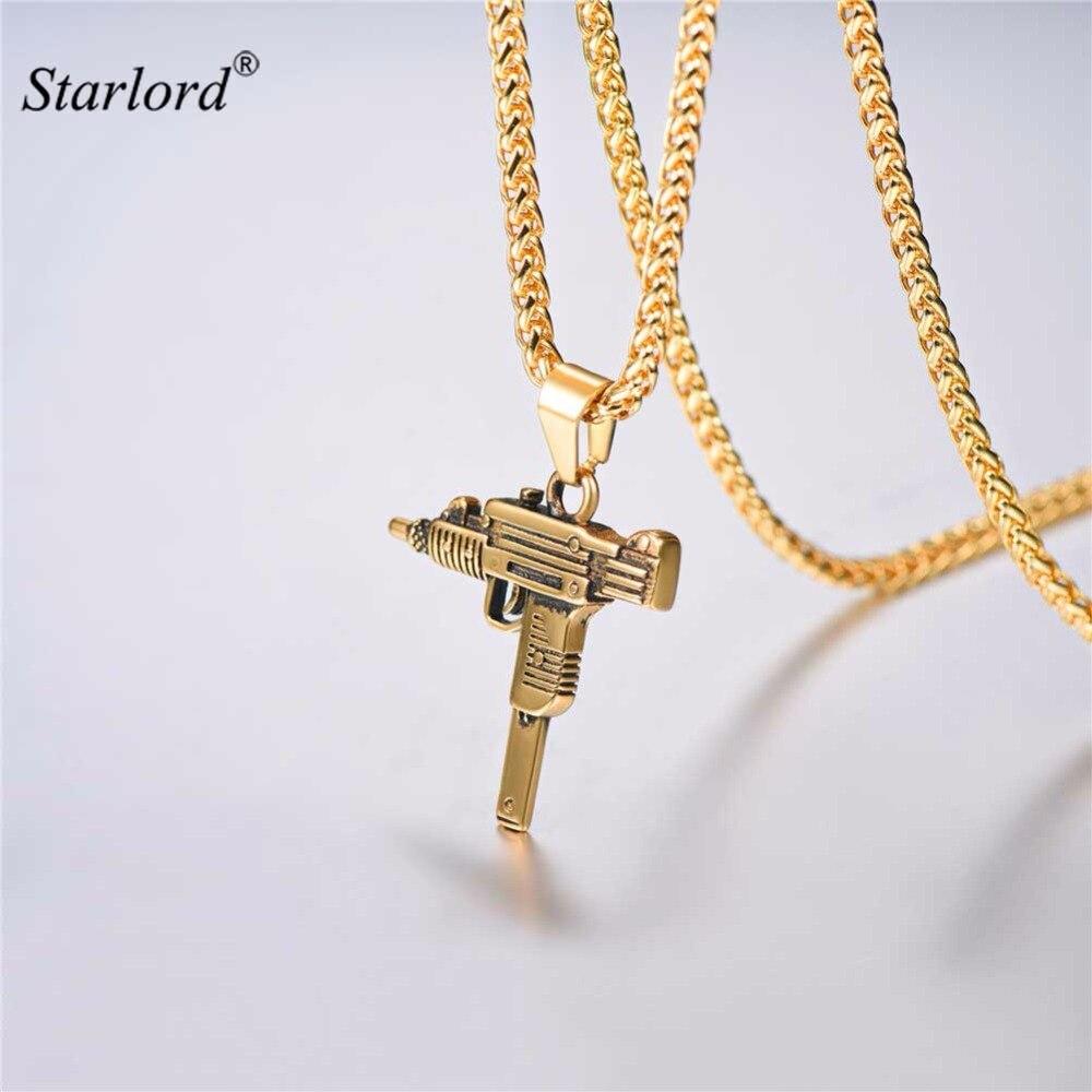 Starlord עוזי אקדח שרשרת & תליון מתנה עבור גברים היפ הופ תכשיטי נירוסטה צבאי תת אקדח תכשיטי עבור גברים GP2953