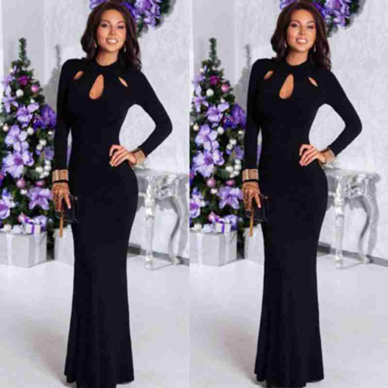 Frauen Mode Bodycon Cocktail Party Tunika Kleider Casual O Hals Langarm Slim Lange Kleider