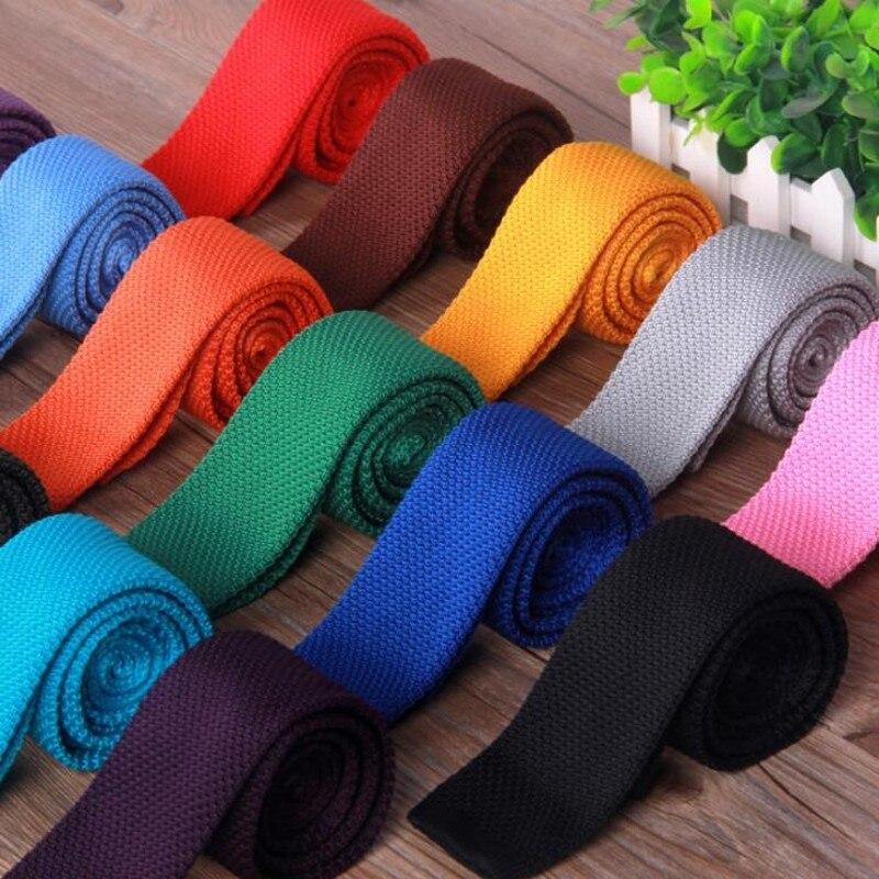 Neck Tie Men Skinny necktie wedding ties Knitting Black Flat head  fashion Mens Business Bowtie Shirt Accessories thin 5cm Wide