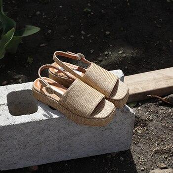 Woven womens sandals 2019 summer new vine grass casual flat sandals low heel thick bottom Roman women's shoes