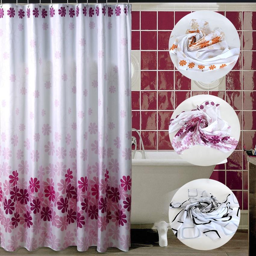 Cortina de ducha de flores, cortinas de baño, Cortina de baño impermeable de poliéster, cubierta Floral con ganchos de 12 Uds 180x180 cm 180x200 cm